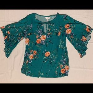 Floral teal blouse